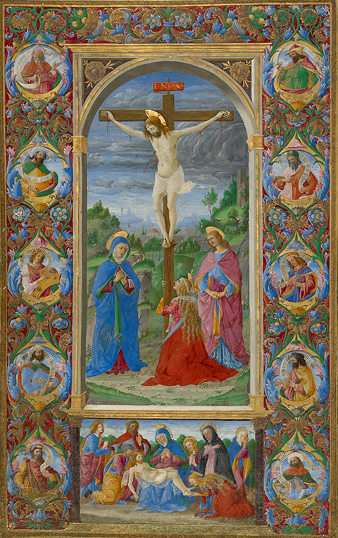 <em>The Crucifixion</em>, leaf from the <em>Missal of Innocent VIII</em>, 1484-92, Rome, Giuliano Amadei. The J. Paul Getty Museum