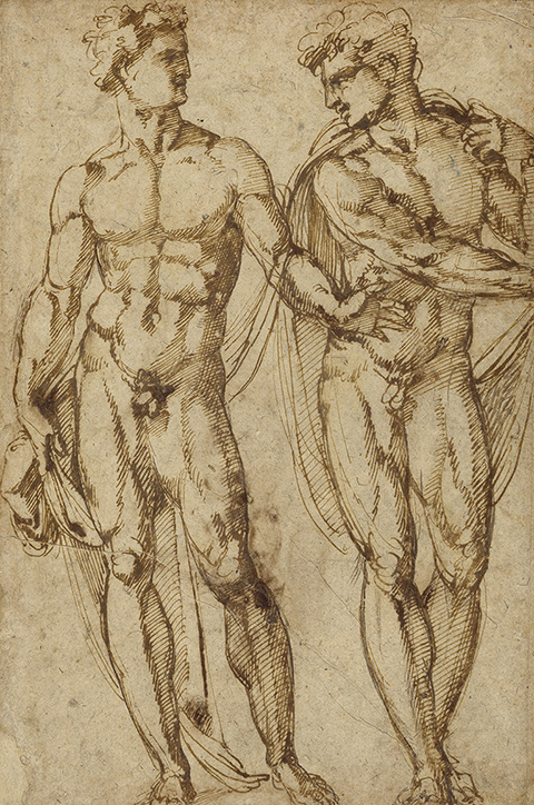 Study of Two Men, about 1525, Baccio Bandinelli, pen and brown ink. The J. Paul Getty Museum