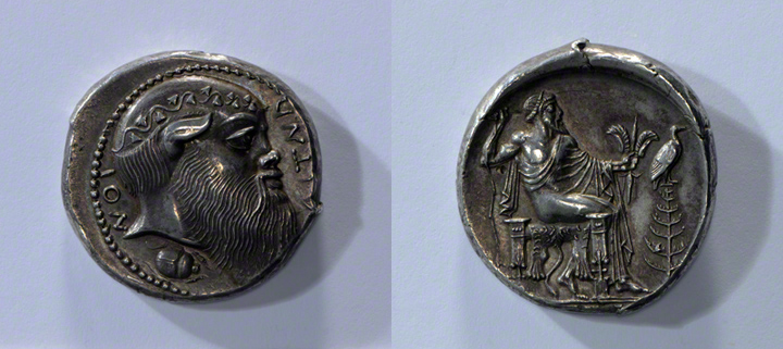 Coin with a Head of Silenos and Zeus Enthroned / Aitna Master