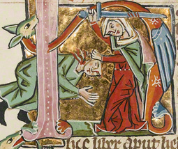 Initial H: Judith Beheading Holofernes