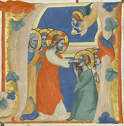 Initial A: Christ Wiping Away the Tears of the Saints