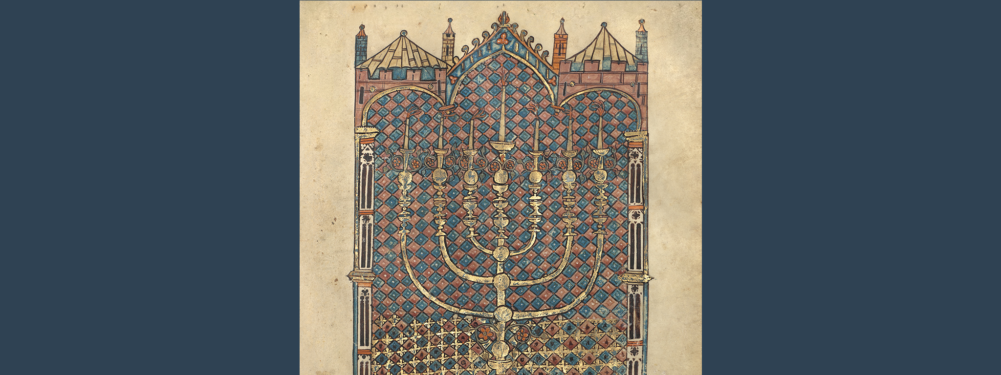 Menorah of the Tabernacle, Book of Leviticus (detail), from the Rothschild Pentateuch, France and/or Germany, 1296; artist unknown. The J. Paul Getty Museum. Acquired with the generous support of Jo Carole and Ronald S. Lauder