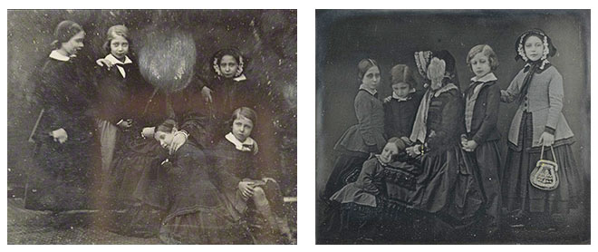 Two images of Queen Victoria and her children