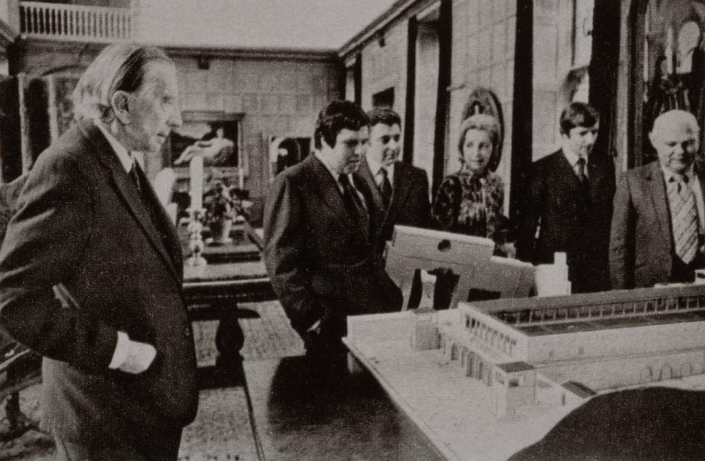 J. Paul Getty viewing Villa model, about 1971.