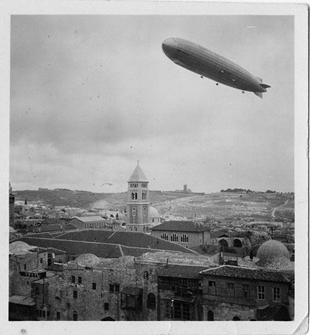 historic photo of zepplin above Jerusalem
