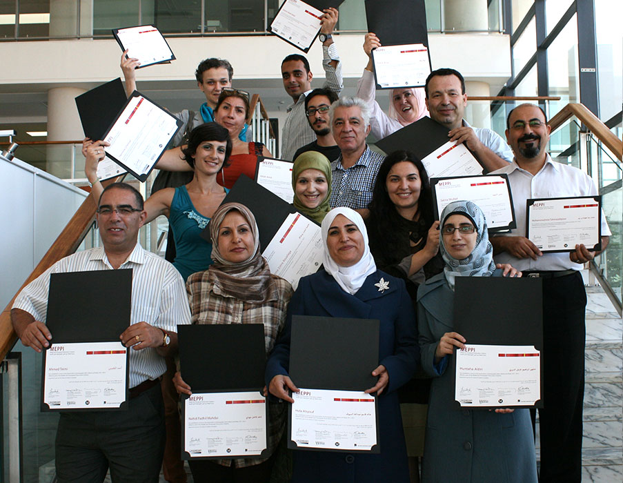 Participants  show their certificates