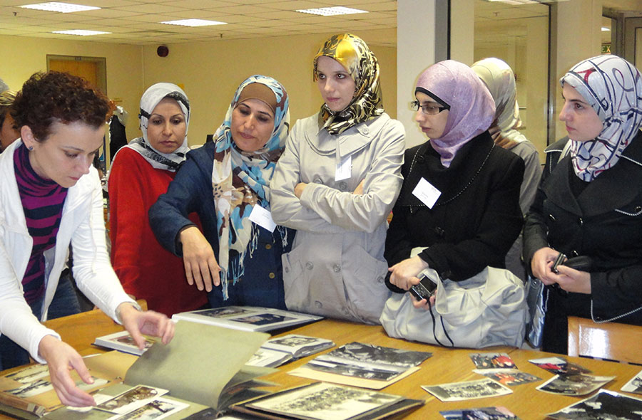 course participants visiting a collection