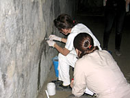conservators working with grouts