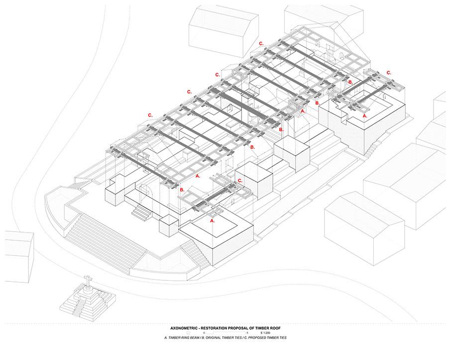 seismic retrofitting project Beam Straps axonometric restoration proposal of timber roof