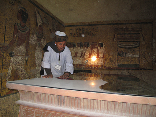 dust on glass covered sarcophagus