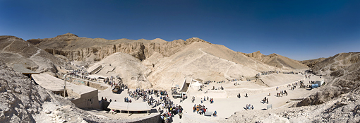 Panorama of the Valley of the Kings in 2009