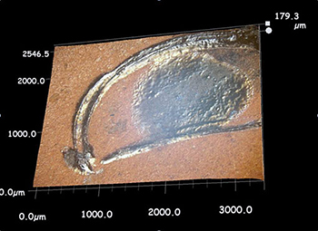 3-D image of a line on Athenian sherd