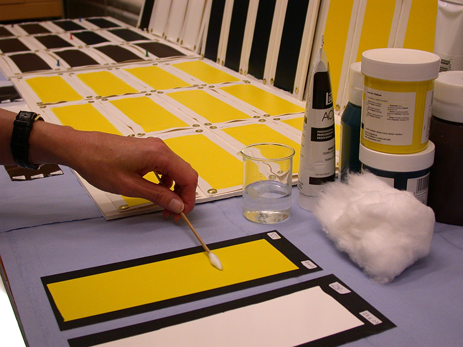 Test cleaning an acrylic paint sample