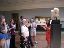 Group discussion in the galleries during a Villa Teacher Orientation Workshop.