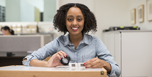 Getty intern Neyat Yohannes at the Hammer Museum