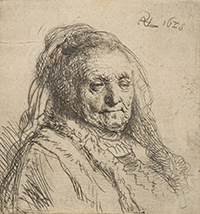 etching of Rembrandt's mother