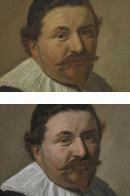 Lucas de Clercq pre- and post-conservation / Hals
