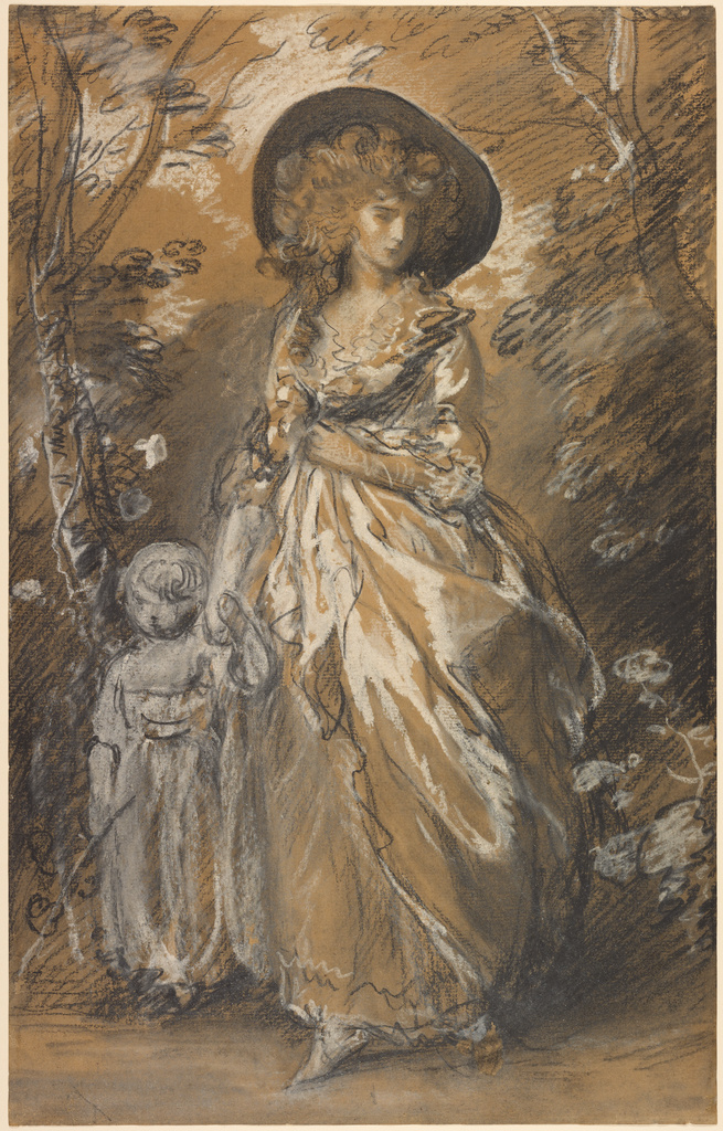 A Lady Walking In A Garden With A Child Getty Museum