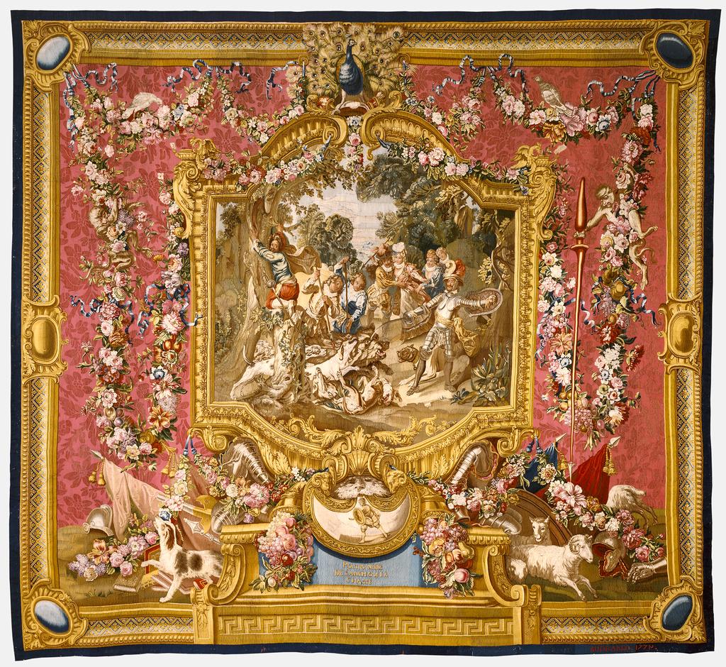 Tapestry: La Poltronnerie de Sancho à la chasse, from L'Histoire ...
