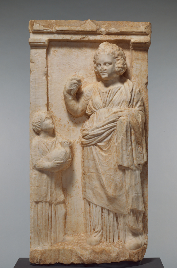 Grave Naiskos Of Demainete With An Attendant Holding A
