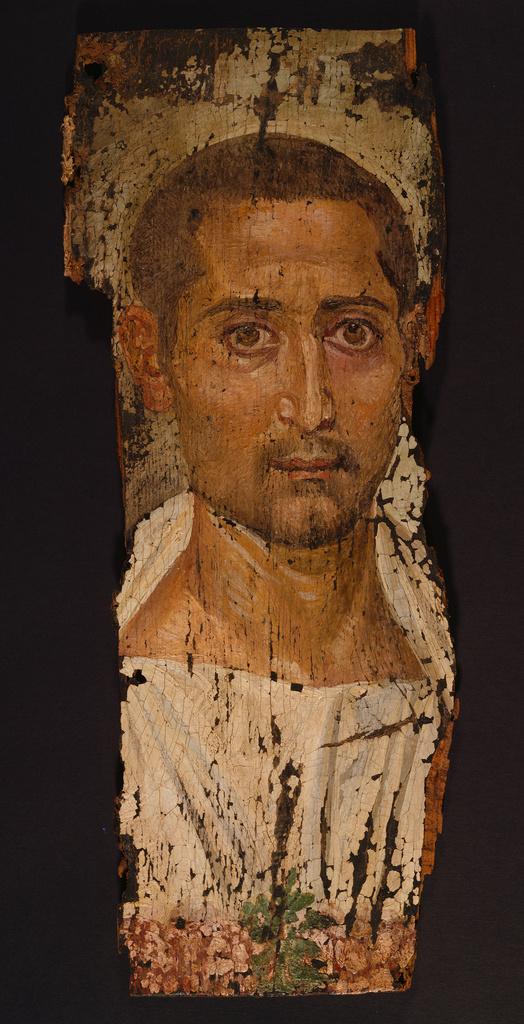 8659084d3acb9 Unknown, Mummy Portrait of a Bearded Man, Romano-Egyptian, A.D. 220–235,  Encaustic on cedar of Lebanon wood panel, 47.5 × 19 cm (18 11/16 × 7 1/2  in.), 79.