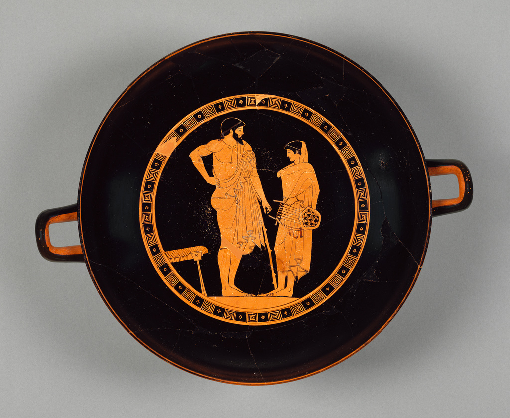 Courtship Scene Between Man And Boy Attic Redfigure Cup By