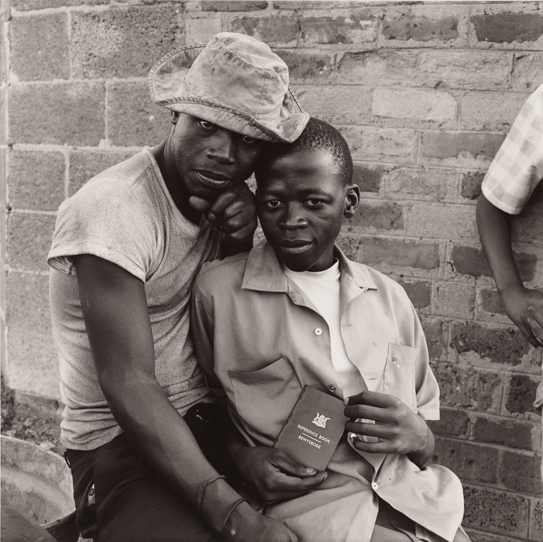 Young Men with dompas, White City, Jabavu, Soweto (Getty Museum)