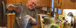 Ken Albala making the spinach recipe