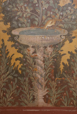 Detail of a garden fresco from the Villa di Poppaea at the ancient site of Oplontis