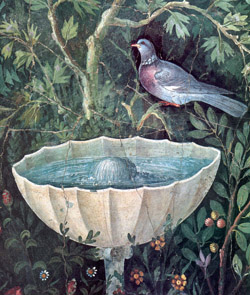 Wall painting showing bird and fountain