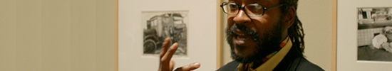 Clarence Williams speaks in the Getty Center galleries at a past Point-of-View: Artist Talk