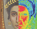 Detail of Mummy Portrait of a Woman next to detail of x-ray fluorescence map of same portrait