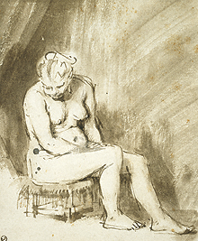 Seated Female Nude / Rembrandt