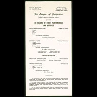 Program for a recital by David Tudor and others in New York City