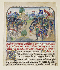 The Armies of France and Burgundy with Martel in Prayer / Liédet and Fruit