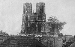 photograph of the bombing on Reims Cathedral