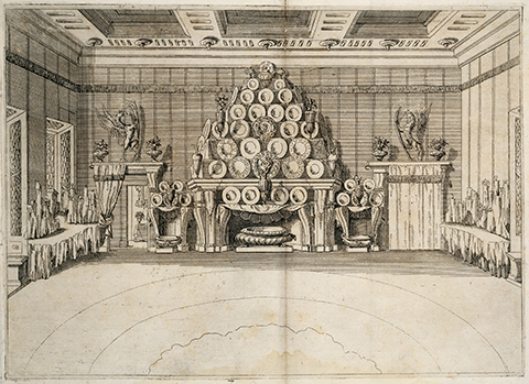 Pyramidal display of silver platters, urns, vases, and tureens, decorating a hearth and side tables
