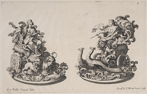 Ornately carved sugar sculptures of Juno and Cybele in chariots drawn by lions and peacocks