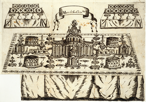Table plan with 100 settings, decorated like a city with edible buildings and fountains