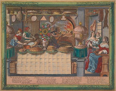Lively, colorful scene of bakers baking cakes and pies