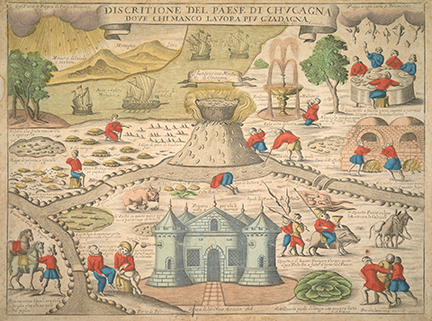 Colorful map of a mythical land where food and riches fall from the sky and sprout from the land