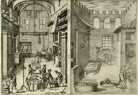 View of open book, showing people preparing food, sharpening knives, and washing dishes