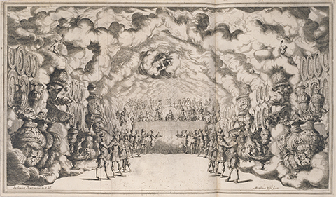 Opulent banquet with satyrs serving the gods under swirling clouds