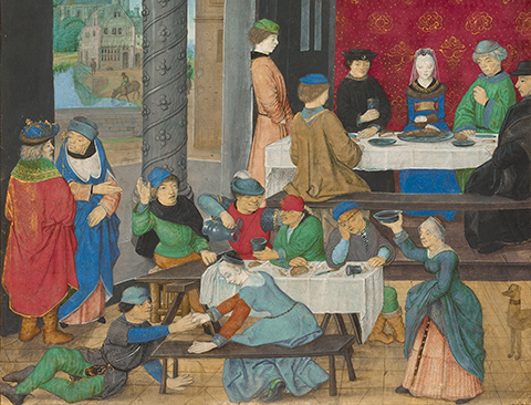 related exhibition banner: Eat, Drink, and Be Merry: Food in the Middle Ages and Renaissance, also at the Getty Center