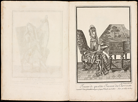 View of open book displaying a 17th century print of a woman playing a beautifully painted harpsicord