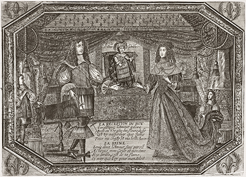 A 17th century print in which Louis XIV and his wife present their newborn son