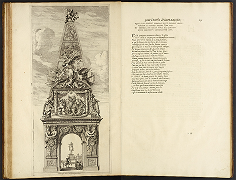 View of an open book displaying a 17th century print of a tall obelisk in the form of a triumphal arch