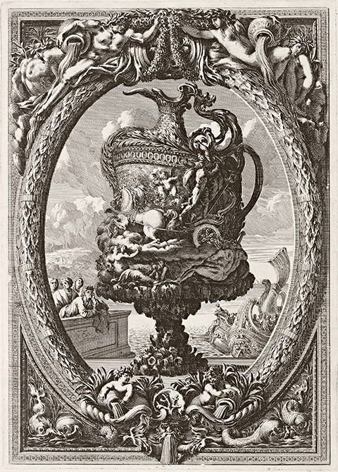 A 17th century print of an enormous vase with an elaborate ornamental border