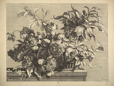 A 17th century print of a floral bouquet in a basket