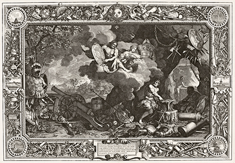 A 17th century print of a tapestry design featuring Venus and Jupiter presiding over Vulcan
